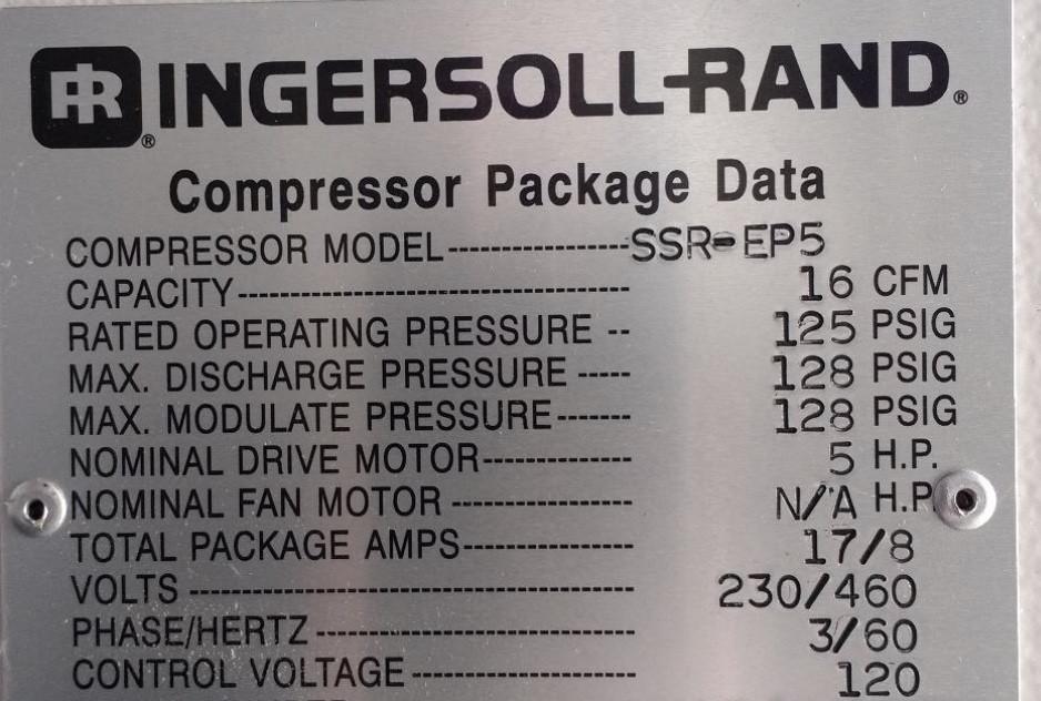 5 HP Ingersoll Rand SSR-EP5 Rotary Screw Air Compressor
