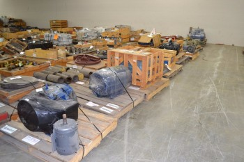8 PALLETS OF ASSORTED AC/DC MOTORS, 10-50HP, BALDOR, WEG