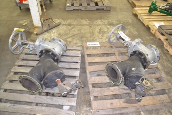 LOT OF 4 VALVES, 2X NEWCO 6IN 150 GATE VALVE, 2X COLTON 4IN STRAINER