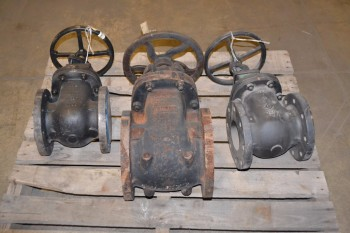 LOT OF 3 ASSORTED CRANE KNIFE GATE VALVES, 4 IN - 7 IN