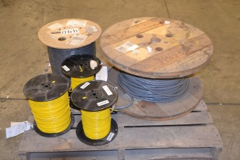 LOT OF 5 ASSORTED SPOOLS OF CABLE-WIRE