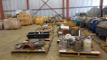 27 PALLETS OF ASSORTED MISCELLANEOUS STEEL, PLATES, HOUSING