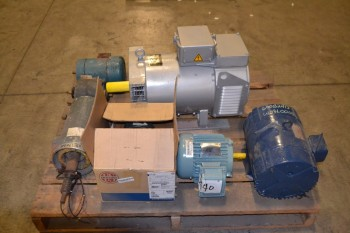 1 PALLET OF ASSORTED AC/DC ELECTRIC MOTORS, 1-25HP