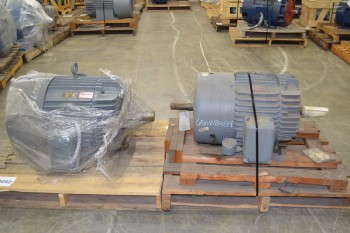LOT OF 2 GENERAL ELECTRIC GE AC ELECTRIC MOTORS 575V-AC, 100HP, 75HP