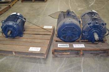 LOT OF 3 ASSORTED AC MOTORS 40-75HP 575V-AC, BROOK HANSEN