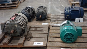 LOT OF 5 ASSORTED AC MOTORS 25-60HP 575V-AC, GE , HYUNDAI
