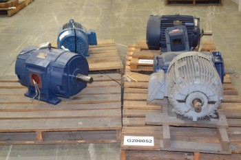 LOT OF 5 ASSORTED AC MOTORS 15-150HP 575V-AC, GE, LEESON, WEG