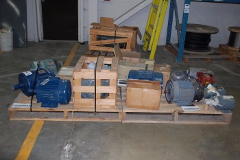 2 PALLETS OF ASSORTED 0.5-7.5HP 575V-AC AC ELECTRICAL MOTORS
