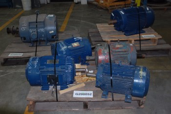 LOT OF 6 ASSORTED AC MOTORS 20-50HP, SIEMENS, TOSHIBA