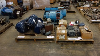 3 PALLETS OF ASSORTED AC/DC ELECTRIC MOTORS 1-30HP, BALDOR