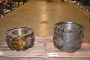 LOT OF 2 ASSORTED STEEL BEARING SLEEVE HOUSINGS