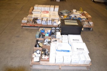 3 PALLETS OF INSTRUMENTATION CHARTS, GAUGES, TRANSMITTERS