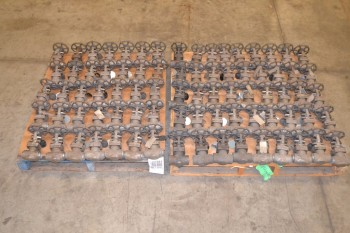 2 PALLETS OF ASSORTED STEEL WEDGE GATE MANUAL VALVES