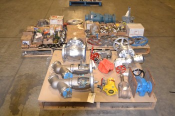 3 PALLETS OF ASSORTED VALVES AND REPLACEMENT PARTS