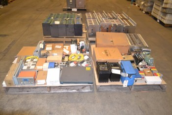 4 PALLETS OF ELECTRICAL CONTROLS CHASSIS, SWITCHES, PCB