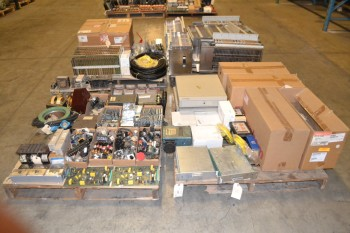 4 PALLETS OF ELECTRICAL CONTROLS SWITCHES, PCB, FUSES