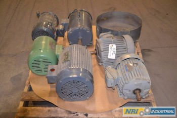 1 PALLET OF ASSORTED AC ELECTRIC MOTORS, 3 HP- 10 HP