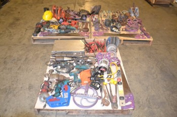 3 PALLETS OF ASSORTED TOOLS, SAWS, DRILLS, HOISTS, BOSCH, STANLEY, DEWALT