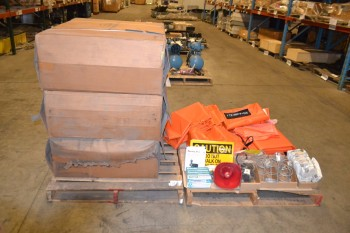 2 PALLETS OF ASSORTED SAFETY SUPPLIES SIGNS, SAFETY SHOWERS