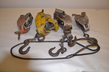 LOT OF 4 ASSORTED HOISTS, LUG-ALL