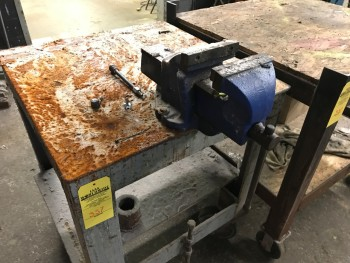 4 Steel Shop Tables with Heavy Duty vice