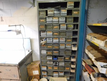Parts Room Shelving with Misc Bolts Nuts and Washers