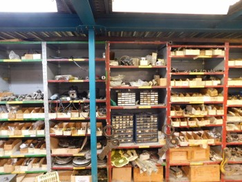 Parts Room Shelving with Misc Parts 3 Racks