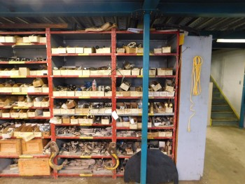Parts Room Shelving with Misc Parts 2 Racks