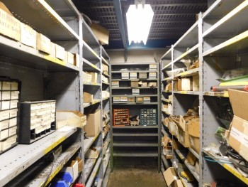Parts Room Shelving with Misc Parts 6 Racks
