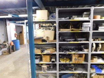 Parts Room Shelving with Misc Parts 13 Racks