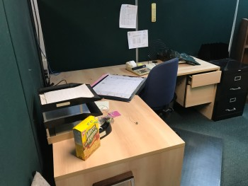 Multiple Office with Desk, Chair,  and Shelf. No File Cabinets or Electronics