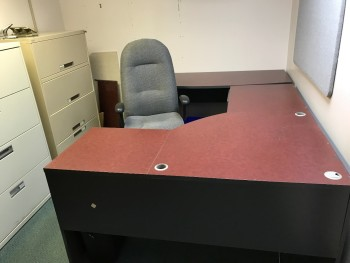 office with desk and chair no file cabinets