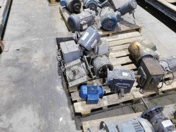 Pallet of misc Electric Motors and gear heads