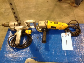 Electric Skill drill and Dewalt hand Grinder