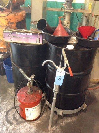 Lot of Funnel and Drums, 5gal. Grease tank w/ pump, Barrell Pump, Drum dolly