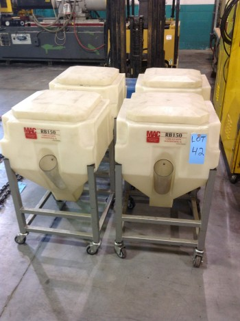 Lot of (4) MAC Automation concepts model RB150 w/ Portable plastic feed hoppers