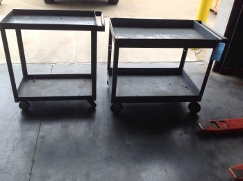 Lot of (2) Rolling metal Carts