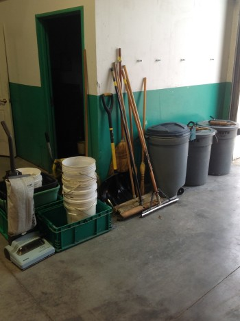 Lot of shop/cleaning supplies, brooms, buckets, trash bins, shovel, mop, vaccumn