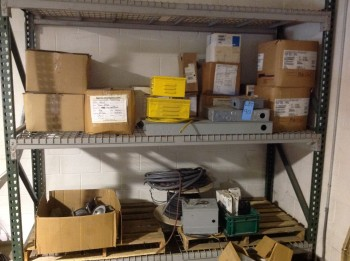 Contents of shelve, Electrical hose, misc. material pellets (Shelving not included)