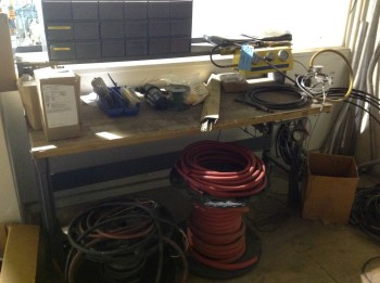 Work table w/ contents, Nitrogen regulator control, Hoses, Bolts bin