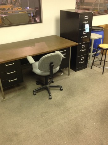 Lot w/ (4) Drawer file Cabinets, (2) Stools, desk chair