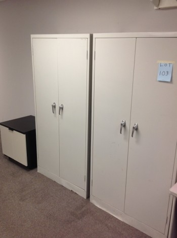 (2) two door steel cabinets, Rolling cart