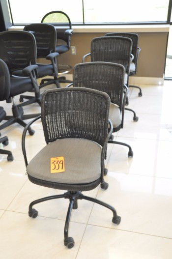 Lot-(4) Basket Weave Style Swivel Office Chairs