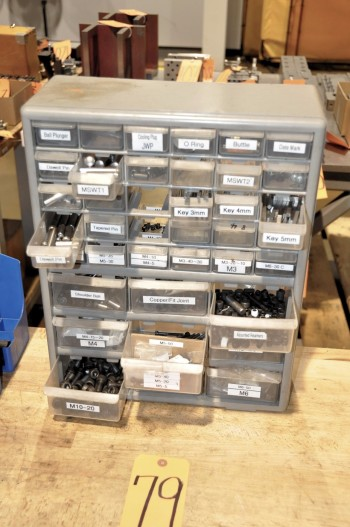 Plastic Bin Cabinet with Hardware Contents