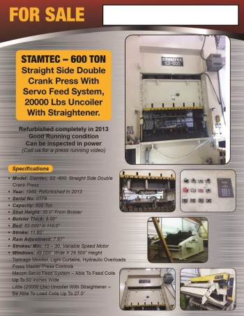Stamtec 600 Ton Double Crank Punch Press
