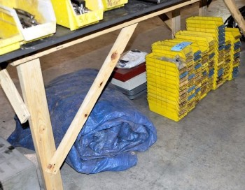 Lot-Plastic Parts Bins with Tarp Under (1) Table