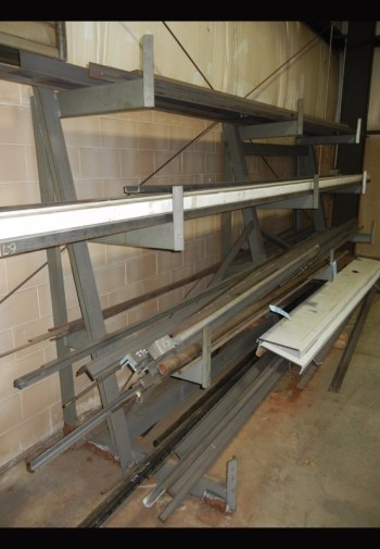 Lot-Round, C-Channel and Angle Steel Stock on (1) Rack, (Rack Not Included)