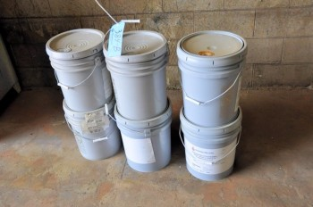 Lot-(6) 5-Gallon Pails of Unopened Orange Water Base Paint