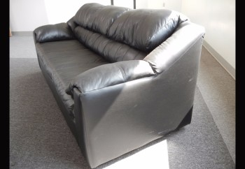 Lot-(2) Black Leather Sofas