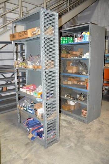 Lot-(2) Sections Shelving with Hardware Contents